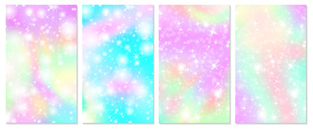 Rainbow mermaid background. Unicorn pattern. Christmas rainbow backdrop. Vector illustration.