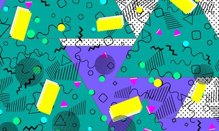 Fondo de color del arte pop. Patrón de Memphis de formas geométricas para tejidos y postales. Ilustración de vector. Estilo hipster 80s-90s. Fondo funky colorido abstracto.