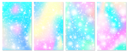 Rainbow mermaid background. Unicorn pattern. Christmas rainbow backdrop. Vector illustration. Vettoriali