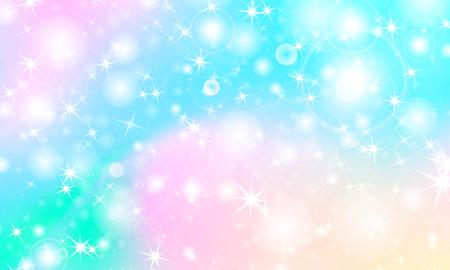 Fondo de sirena arco iris. Patrón de unicornio. Fondo de princesa de color. Telón de fondo de arco iris de Navidad. Ilustración de vector.