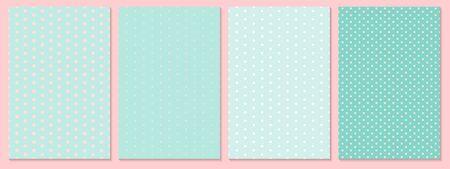 Dot pattern set. Baby background. Blue, pink colors. Vector illustration. Polka dot pattern.  イラスト・ベクター素材