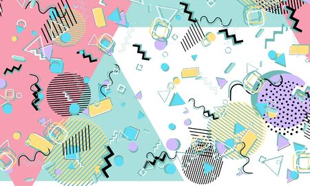 Memphis. 90s pattern. Geometric shapes background. Vector Illustration. Hipster style 80s-90s. Abstract colorful funky background.