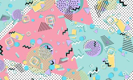 Color background. Memphis style. Funky abstract pattern. Geometric elements. Vector Illustration.  イラスト・ベクター素材