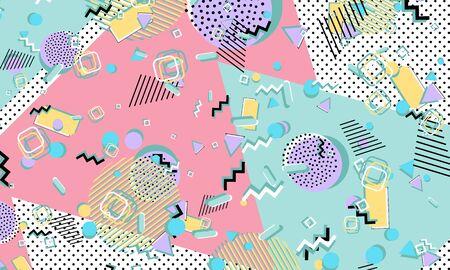 Color background. Memphis style. Funky abstract pattern. Geometric elements. Vector Illustration. Illusztráció