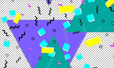 Color background. Abstract pattern. Vector Illustration. Hipster style 80s-90s. Abstract colorful fun background.