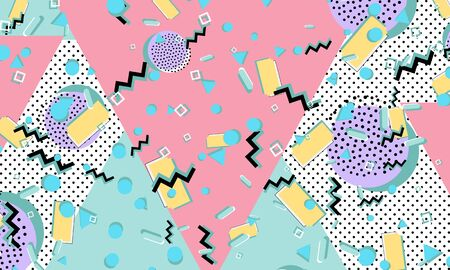 Memphis pattern. Geometric shapes. Hipster style 80s-90s. Color abstract background. Vector Illustration.