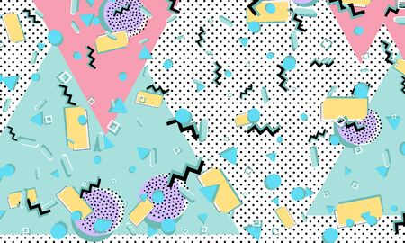 Color background. Memphis style. Funky abstract pattern. Geometric elements. Vector Illustration. Ilustrace