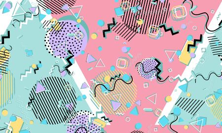 Abstract fun background. Colour shapes pattern. Memphis style. Vector Illustration. 일러스트