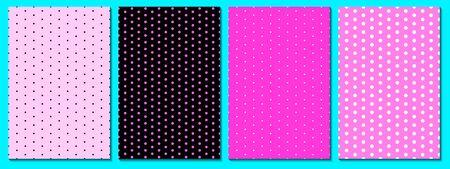 Dot pattern set. Baby background. Pink color. Vector illustration. Polka dot pattern.