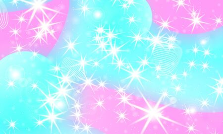 Unicorn pattern. Fairy background. Mermaid rainbow. Holographic magic stars. Fantasy universe. Rainbow unicorn background. Ilustração
