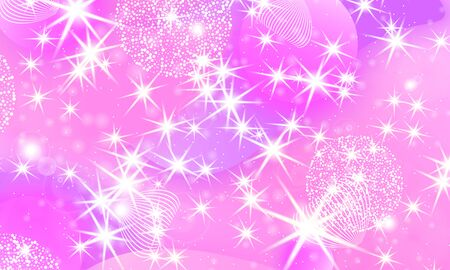Princess background. Mermaid rainbow. Magic stars pink. Unicorn pattern. Fantasy galaxy. Fairytale graphics. Pink princess colors.