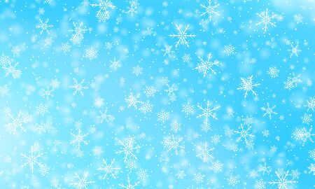 Snow background. Vector illustration. Winter snowfall. White snowflakes on blue sky. Christmas background. Falling snow. Illustration