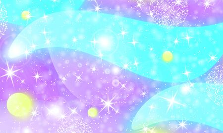 Princess background. Mermaid rainbow. Holographic sky. Unicorn pattern. Fantasy galaxy print. Fairytale graphics. Violet, blue, yellow princess colors. Ilustração
