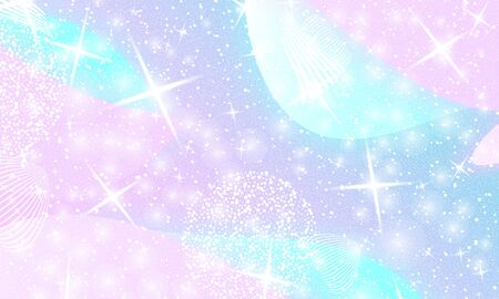 Princess background. Mermaid rainbow. Magic stars. Unicorn pattern. Fantasy galaxy. Fairytale princess colors.