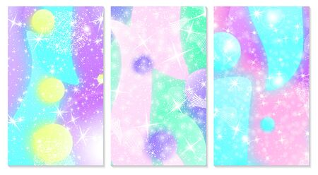 Fairytale background. Mermaid rainbow. Holographic magic stars. Unicorn pattern. Fantasy galaxy. Fairy graphics.