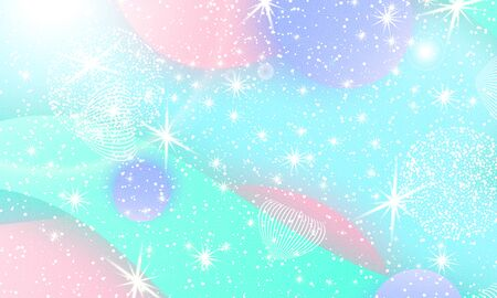 Fairy background. Mermaid rainbow. Holographic magic stars. Unicorn pattern. Fantasy galaxy print. Fairytale graphics.