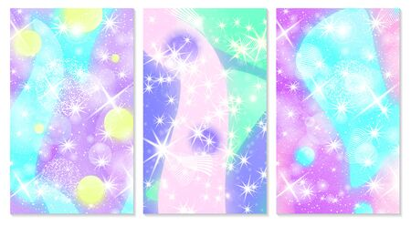 Unicorn background. Mermaid rainbow. Fairy pattern. Fantasy galaxy print. Holographic magic stars. Rainbow unicorn light.