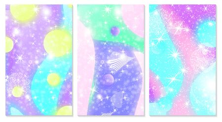 Fantasy background. Unicorn pattern. Holographic magic stars. Vector illustration. Fantasy abstract background. Ilustrace