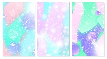 Galaxy print. Fantasy universe. Unicorn pattern. Fairy background. Vector illustration. Fantasy galaxy.