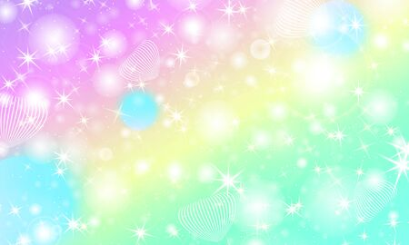 Unicorn background. Mermaid rainbow. Fairy pattern. Fantasy galaxy print. Holographic magic stars. Rainbow unicorn light.