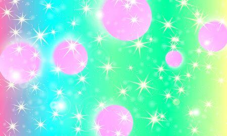 Unicorn background. Mermaid rainbow. Fairy pattern. Fantasy galaxy print. Holographic magic stars. Rainbow unicorn light. Фото со стока - 131325901
