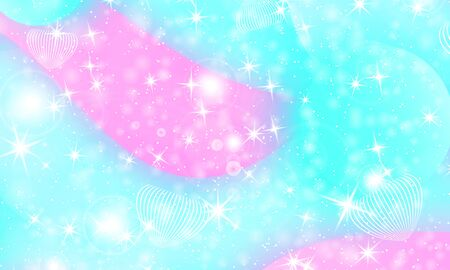 Fantasy universe. Unicorn pattern. Fairy background. Mermaid rainbow. Holographic magic stars. Rainbow fantasy universe background.