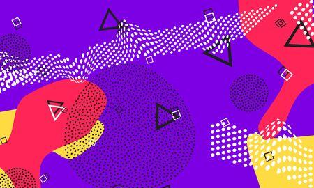Purple Rectangular Flyer. Memphis Poster. Coral Trendy Illustration. Mustard Minimal Elements. Pop Cover. Lilac Abstract Design. Lavender Textile Art.