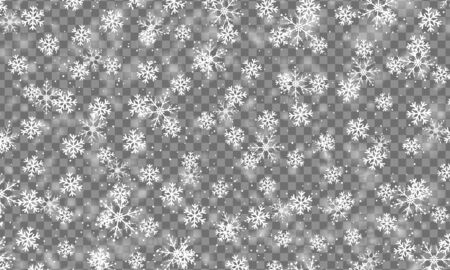 Winter snow. Realistic snowflakes on transparent background. Vector illustration. Christmas texture. Falling snow.