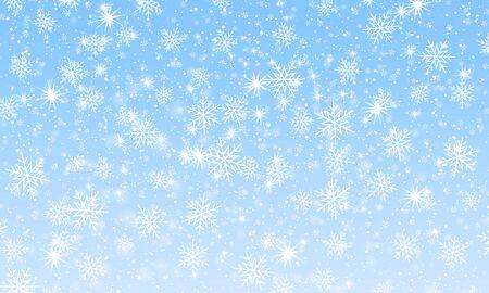 Winter snow background. Vector illustration. Snowfall sky. Christmas background. Falling snow. Illustration