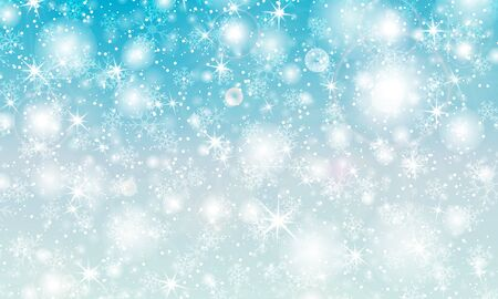 Falling snow. Vector illustration with snowflakes. Winter blue sky. Christmas texture. Sparkle snow background.