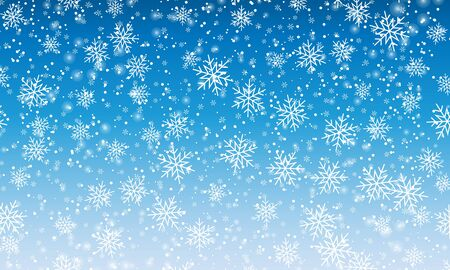 Winter snow texture. Vector illustration. Blue sky. Falling snow. Winter crystal. Christmas texture. Illustration