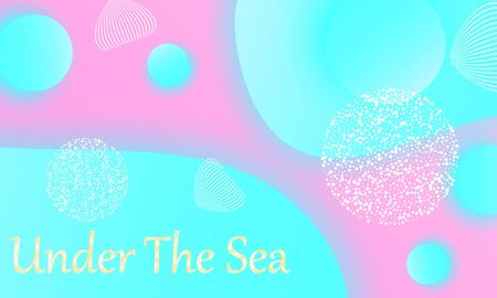 Under the sea. Mermaid pattern. Abstract background. Cartoon vector. Blue, pink colors.