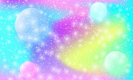 Cosmic pattern. Mermaid rainbow. Fantasy universe. Fairy background. Holographic magic stars. Minimal design. Trendy gradient colors. Fluid shapes. Vector illustration.