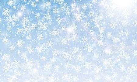 Snow background. Vector illustration with snowflakes. Winter blue sky. Christmas background. Falling snow.