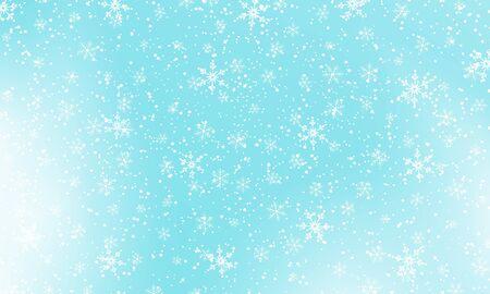 Snow background. Vector illustration. Winter snowfall. White snowflakes on blue sky. Christmas background. Falling snow. Illustration