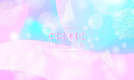 Cosmic pattern. Christmas snowflakes. Fantasy universe. Fairy background. Holographic magic stars. Minimal design. Trendy gradient colors. Fluid shapes. Vector illustration.