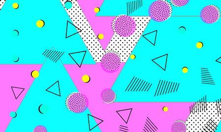 Pink Artwork. Turquoise Simple Elements. Stripes Fashion. 80s Art. Purple Artistic Design. Fluid Illustration. Cyan Childish Print. 向量圖像