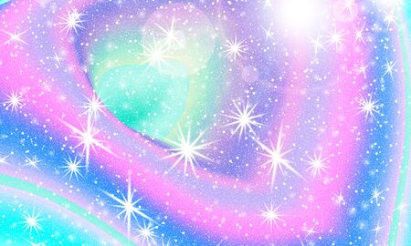 Vector illustration. Fantasy universe. Fairy background. Holographic magic stars. Unicorn pattern. Candy background.