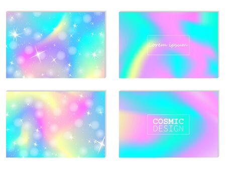 Unicorn background. Mermaid rainbow. Magic stars. Fantasy galaxy. Fairytale graphics. Pink, blue princess colors.
