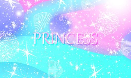 Princess background. Mermaid rainbow. Magic stars. Unicorn pattern. Fantasy galaxy. Fairytale graphics. Pink, blue princess colors. 向量圖像