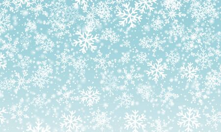 Snow background. Vector illustration. Winter snowfall. White snowflakes on blue sky. Christmas background. Falling snow. 版權商用圖片 - 135083407