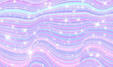 Fantasy universe. Fairy background. Vector illustration. Holographic magic stars. Unicorn pattern. Candy background. 向量圖像
