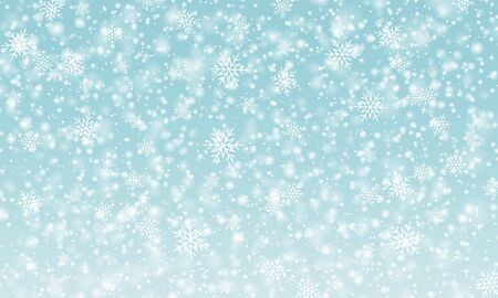 Snow background. Vector illustration. Winter snowfall. White snowflakes on blue sky. Christmas background. Falling snow. 向量圖像