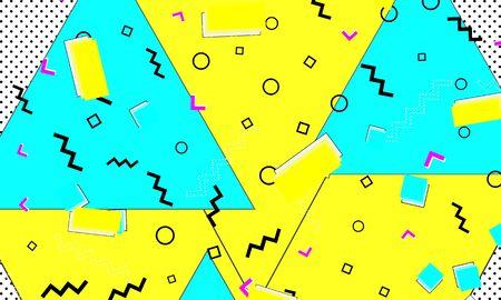 Memphis Poster. Color Decor. Child Mustard Flyer. Pop Template. Fun Turquoise Fashion. Yellow Dot Banner. Doodle Blue Illustration.