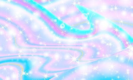 Fantasy universe. Fairy background. Vector illustration. Holographic magic stars. Unicorn pattern. Candy background. 版權商用圖片 - 135352586