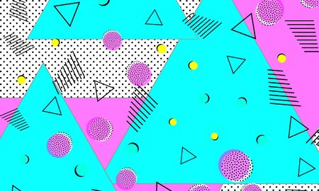 Magenta Funky Ornament. Baby Blue Hipster Decor. Grunge Cover. Geometric Backdrop. Deep Pink Animation Texture. Color Drawing. Turquoise Splash Pattern. 向量圖像