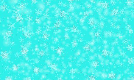 Snow pattern. Vector illustration. Winter snowfall. White snowflakes on blue sky. Falling snow.