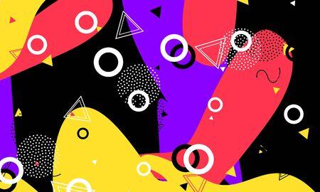 Flow Print. Ink Artistic Wallpaper. Splash Art. Salmon Color Composition. 90s Flyer. Violet Poster. Memphis Texture. Black Contemporary Pattern. 向量圖像