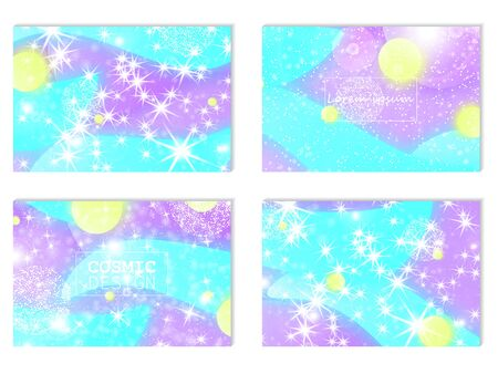 Fantasy abstract invitation card. Fairy background. Vector design concept. Holographic magic stars. Fantasy background.