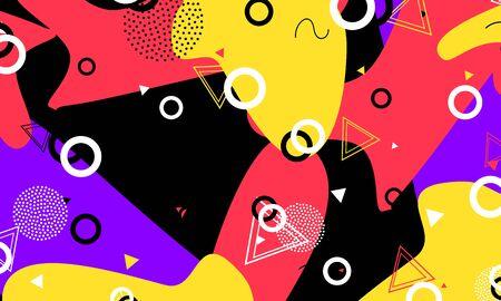 Fun Banner. Ink Funny Poster. Geometric Art. Salmon Minimal Artwork. Flow Elements. Lavender Composition. Artistic Texture. Black Flat Drawing. 向量圖像
